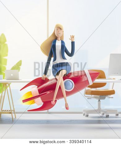 Young Business Woman Emma With Rocket  In The Office Interior. 3d Illustration. Business Concept Car