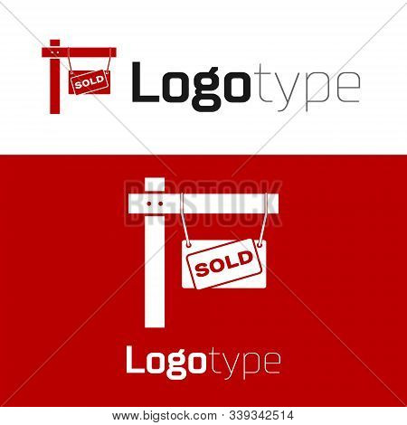 Red Hanging Sign With Text Sold Icon Isolated On White Background. Sold Sticker. Sold Signboard. Log