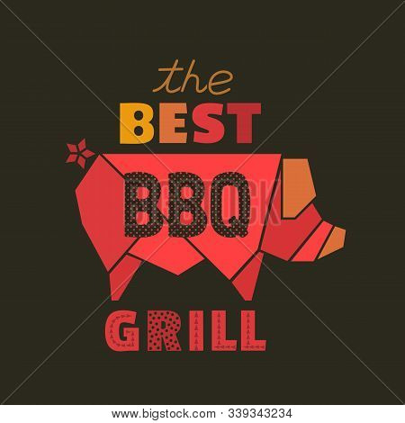 Best Bbq Grill Flat Hand Drawn Vector Icon. Barbecue Grilled Pork Design Element. Roasted Grilling M