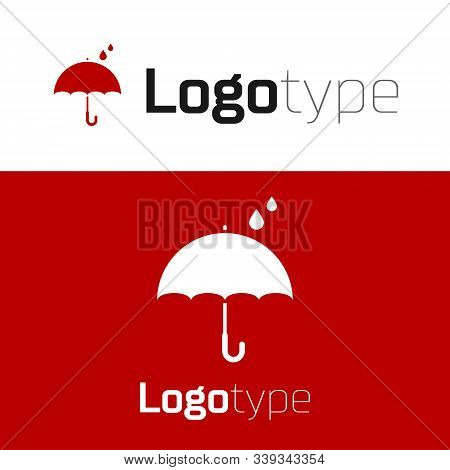 Red Umbrella And Rain Drops Icon Isolated On White Background. Waterproof Icon. Protection, Safety,