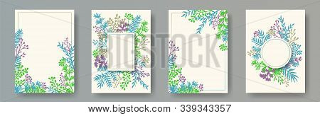 Watercolor Herb Twigs, Tree Branches, Leaves Floral Invitation Cards Collection. Plants Borders Eleg