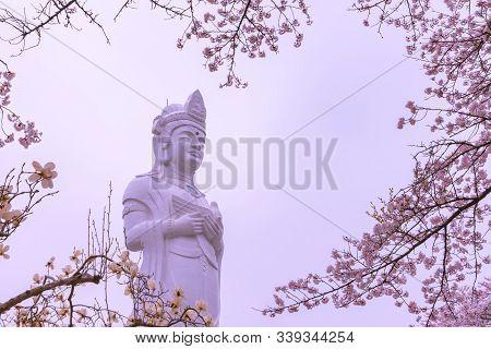 Shibata, Miyagi, Japan. - April 6, 2018: Funaoka Peace Kannon ( Guanyin Bodhisattva ), On The Mounta