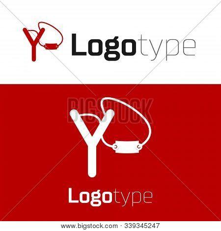 Red Slingshot Icon Isolated On White Background. Logo Design Template Element. Vector Illustration
