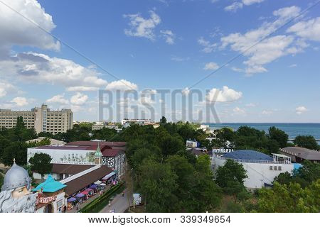 Yevpatoria, Crimea, Russia-september 7, 2019: Top View Of The Resort Town On The Black Sea Coast On
