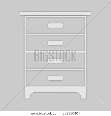 Cabinet With Four Compartments In A Light Style On A Gray Background
