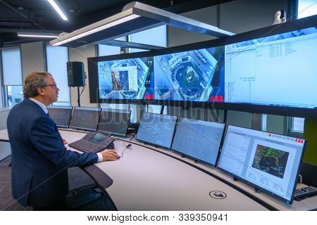 Kaliningrad, Russia - April 10, 2019: Engineering monitoring system with multiple screens demonstration