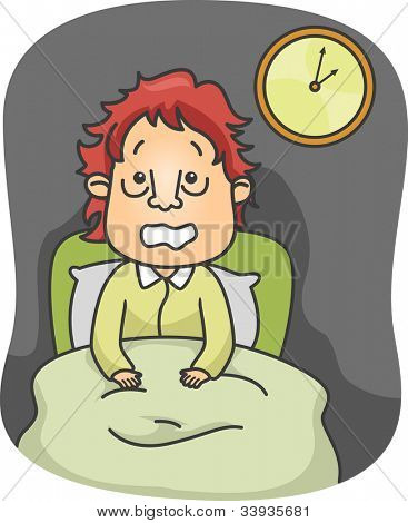Illustration of a Guy Suffering from Insomnia