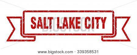 Salt Lake City Ribbon. Red Salt Lake City Grunge Band Sign