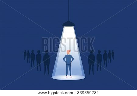 Business Hiring And Recruitment Vector Concept With Spotlight On One Person From Crowd. Career Oppor