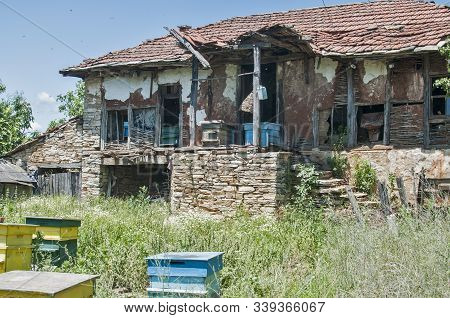 Old Rural Neglected Country House Closeup In Sunny Summer Day