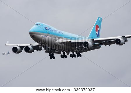 Frankfurt / Germany - December 4, 2012: Korean Air Boeing 747-400 Hl7437 Cargo Plane Landing At Fran