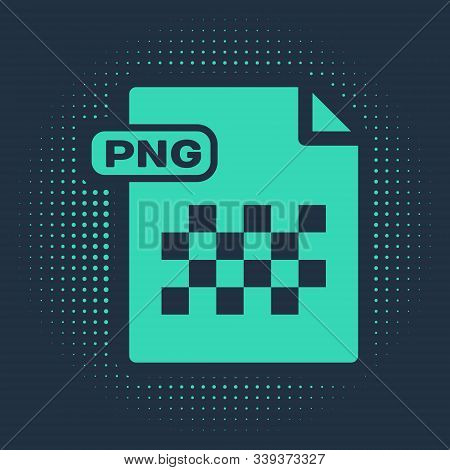 Green Png File Document. Download Png Button Icon Isolated On Blue Background. Png File Symbol. Abst