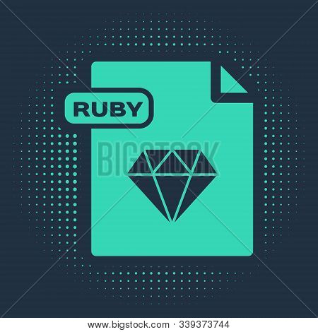 Green Ruby File Document. Download Ruby Button Icon Isolated On Blue Background. Ruby File Symbol. A