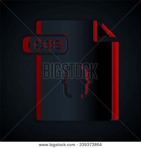 Paper Cut Css File Document. Download Css Button Icon Isolated On Black Background. Css File Symbol.