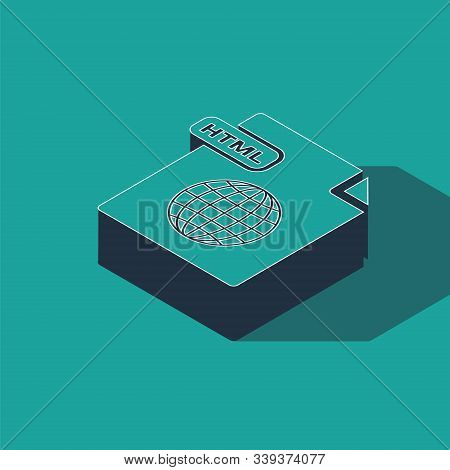 Isometric Html File Document. Download Html Button Icon Isolated On Green Background. Html File Symb