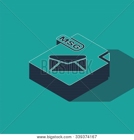 Isometric Msg File Document. Download Msg Button Icon Isolated On Green Background. Msg File Symbol.