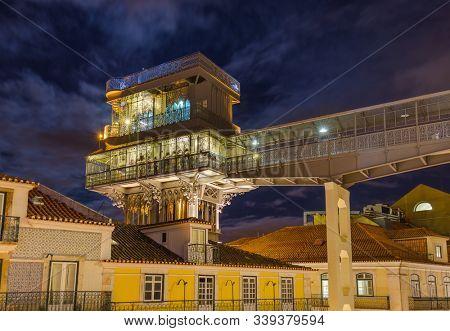 The Santa Justa Lift - Lisbon Portugal - architecture background