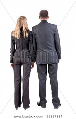 Back view of  business team look into distance. youg couple(man and woman) with books. Rear view people collection.  backside view of person.  Isolated over white background