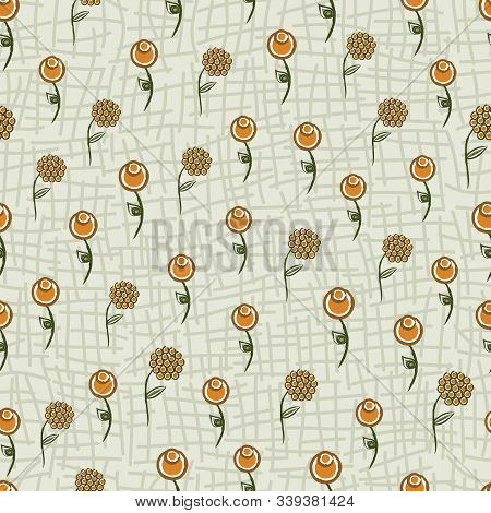 Vector Abstract Orange Yellow Flowers With Green Leaves On Light Green Background Seamless Repeat Pa