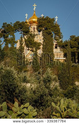 Church of Mary Magdalene in israeli Jerusalem, pilgrim place of christians, religios travel destination number one poster