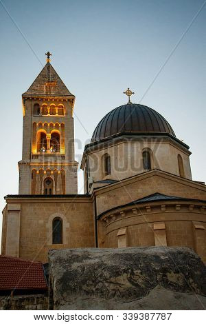 Chapel Tower In Twilight In Israeli Jerusalem, One Of The Thousand Churches, Christian World Place N