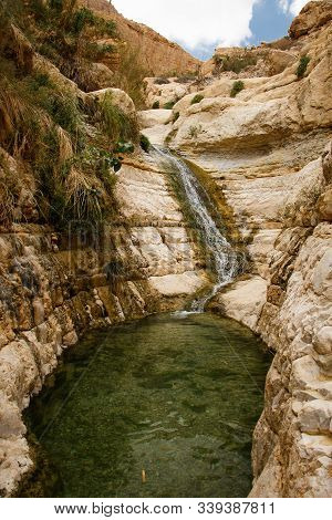 Ein Gedi Nature Reserve As Nice Refreshing Place To Hike In Hot Israel, Natural Waterfall In Israeli