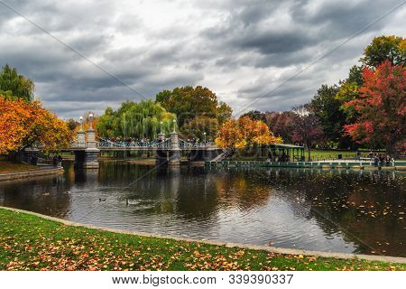 Pond In Boston Garden Park On A Cloudy Day