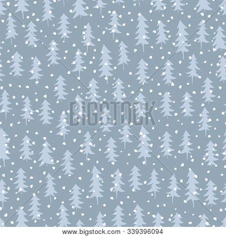 Seamless Pattern With Winter Spruce Forest Drawn In Monochrome Colour. Surface Design For Wintery Ho