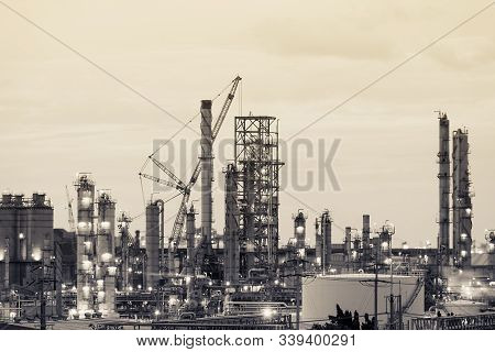 Oil And Gas Refinery Plant Or Petrochemical Industry, Heavy Equipment In Petroleum Industrial Plant