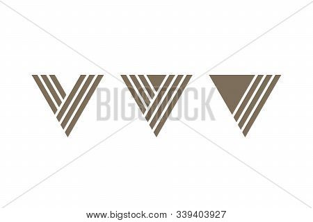 Letter V Icons In Delta Form. Triangular Vector Icons. Abstract Logo Design.