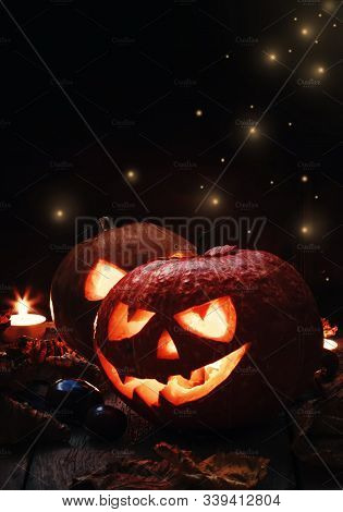 Ghost Lamp,two Halloweens With Ghost Face And Lighting In It