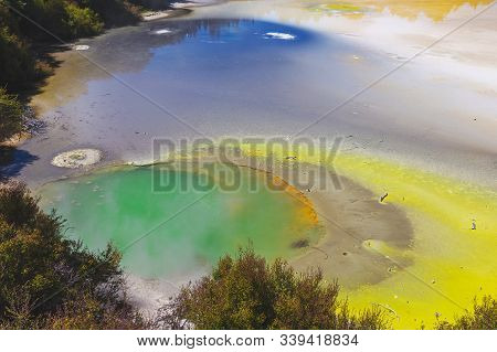 Wai-o-tapu Thermal Volcanic Park With Colorful Lakes In Rotorua, New Zealand
