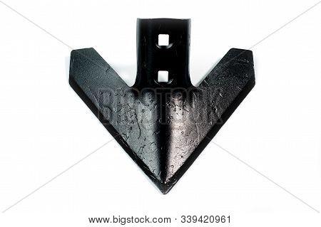 Tiller Of The Cultivator For Tillage, Metal, Black, Shot On A White Background