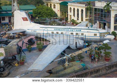 Hanoi, Vietnam - January 09, 2016: Soviet Aircraft Il-14 Close-up. Vietnam Museum Of Military Histor