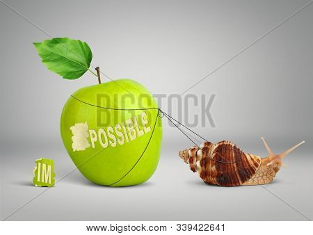 Impossible Is Possible Concept, Snail Pulling Big Apple