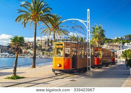 The Famous Orange Tram Runs From Soller To Port De Soller, Mallorca, Spain