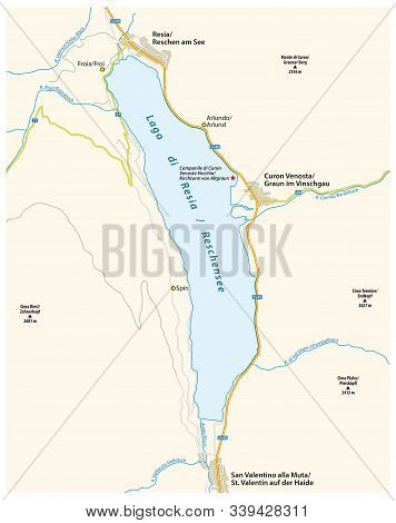 Road Map Of The South Tyrolean Reschensee Italy