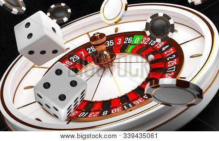 Casino Background. Luxury Casino Roulette Wheel On Black Background. Casino Theme. Close-up White Ca