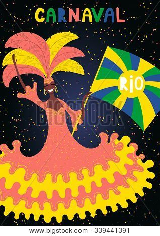 Hand Drawn Vector Illustration With Beautiful Woman Flag Bearer In Bright Costume, Portuguese Text C
