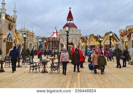 Moscow, Russia - Dec 13.2019. Journey To Christmas Is Moscow Seasons - Winter Festival In Zelenograd