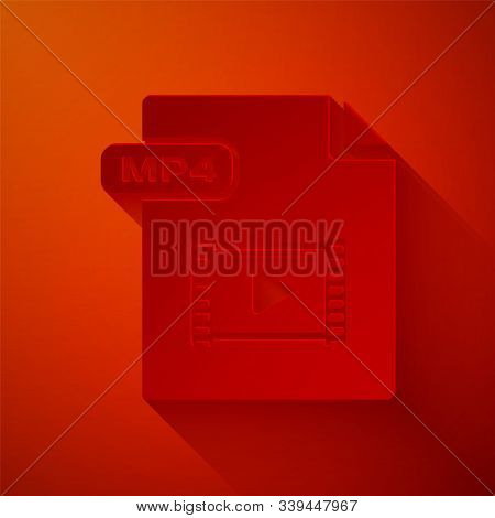 Paper Cut Mp4 File Document. Download Mp4 Button Icon Isolated On Red Background. Mp4 File Symbol. P