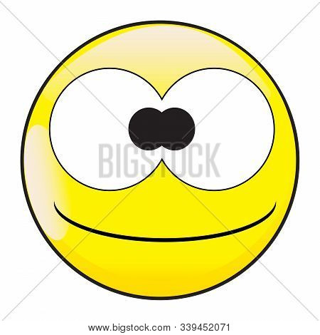 A Big Eyed Happy Silly And Stupid Smiling Smile Face Button Isolated On A White Background
