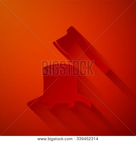 Paper Cut Wooden Axe In Stump Icon Isolated On Red Background. Lumberjack Axe. Axe Stuck In Wood. Pa