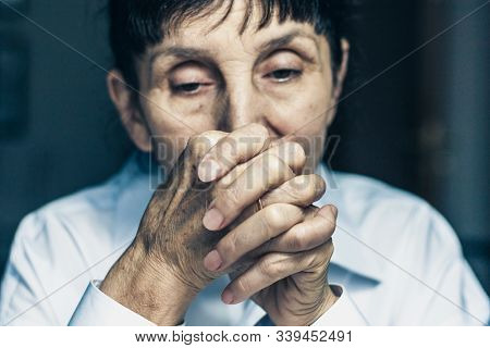 Sad Depressed, Stressed, Thoughtful, Senior, Middle Aged Old Woman, Gloomy, Worried, Interlock Her F