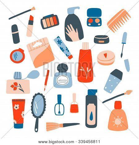 Cosmetic And Makeup Collection. Cream Tube, Lipstick, Nail Polish, Mascara, Eye Shadows, Brush. Flat