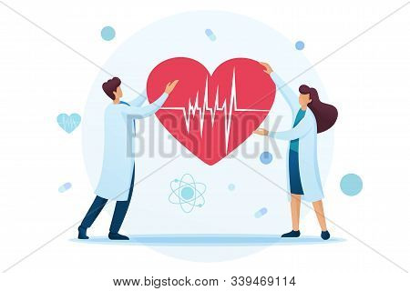 Young Cardiologists Hold A Heart With An Ecg In Their Hands. Flat 2d Character. Concept For Web Desi