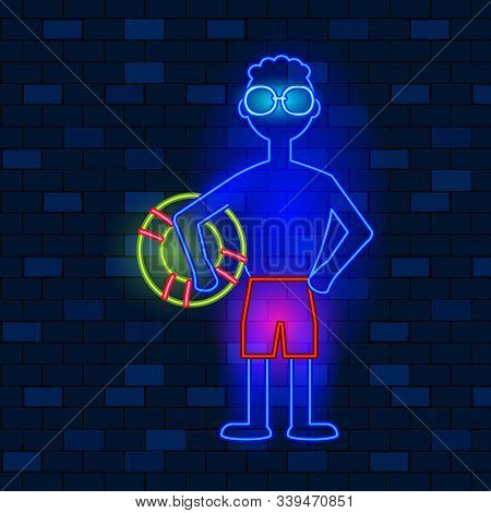 Vip Neon Icons Concept. Neon Beach Lifeguard Man With Lifebuoy Icon On The Dark Brick Wall Backgroun