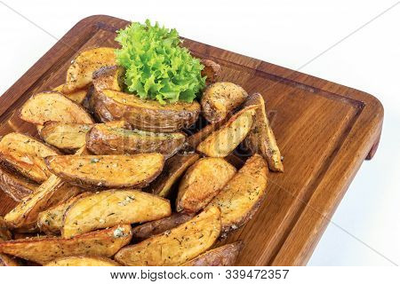 Fried Potato Chips. Home Made In Rural Style And Served On On Wooden Board. Healthy Organic Vegetari