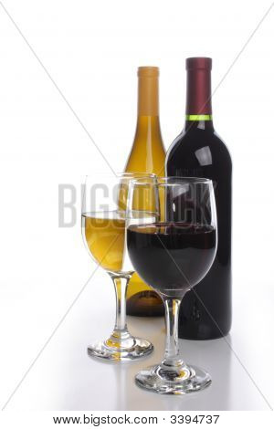White and red wine bottles with two glasses poster