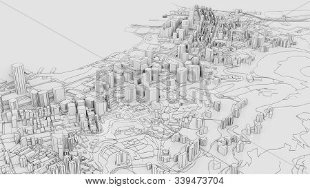 3d White City Model. Outline 3d Illustration. City With Buildings, Roads, Spending And Green Areas.